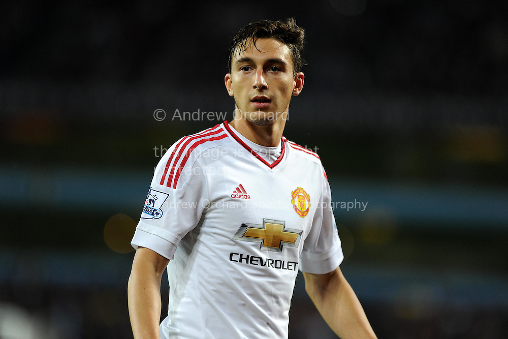 Matteo Darmian of Manchester Utd looks on. Barclays Premier League match, Aston Villa v Manchester Utd at Villa Park in Birmingham, Midlands on Friday 14th August  2015.<br /> pic by Andrew Orchard, Andrew Orchard sports photography.