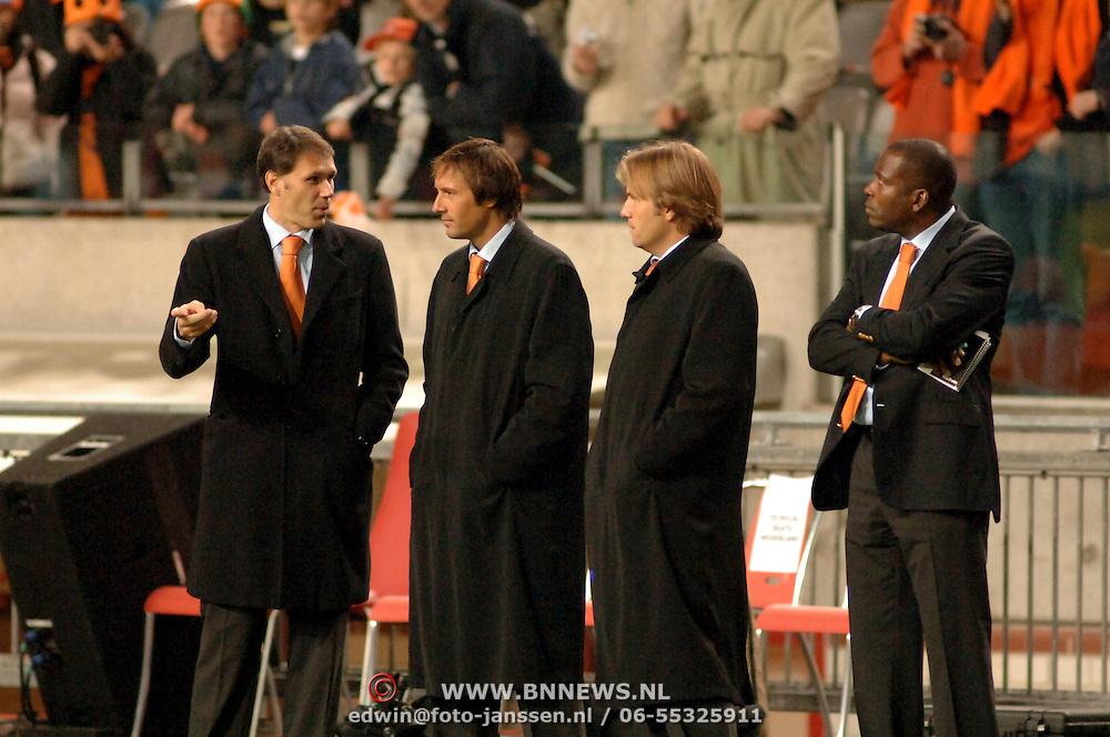 NLD/Amsterdam/20051112 - Voetbal, vriendschappelijke wedstrijd Nederland - Italie, technische staf, Marco van Basten, Johnny van 't Schip, Rob Witschge en Stanley Menzo