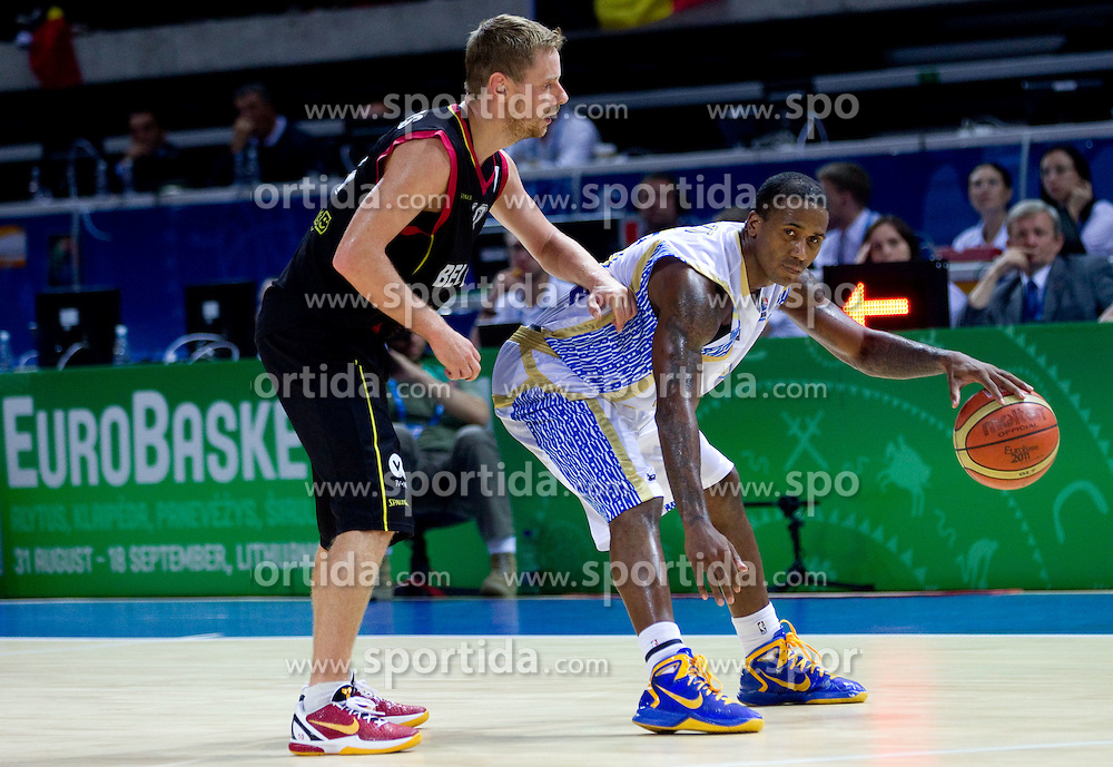 Dimitri Lauwers of Belgium vs Stiven Bertt of Ukraine during basketball match between National teams of Ukraine and Belgium in Group D of Preliminary Round of Eurobasket Lithuania 2011, on September 5, 2011, in Arena Svyturio, Klaipeda, Lithuania.  (Photo by Vid Ponikvar / Sportida)