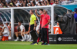 July 31, 2018 - Miami Gardens, Florida, USA - Manchester United F.C. head coach Jose Mourinho signals to the team during an International Champions Cup match between Real Madrid C.F. and Manchester United F.C. at the Hard Rock Stadium in Miami Gardens, Florida. Manchester United F.C. won the game 2-1. (Credit Image: © Mario Houben via ZUMA Wire)