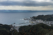 Chiba prefecture, December 17 2015 - Tokyo bay and the ropeway as seen from the top of Mount Nokogiri. Mount Nokogiri is one of major attractions of  Chiba prefecture, but not yet well known by foreign tourists.