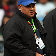 Manu Samoa 7's Head Coach, Stephen Betham takes the field for Manu's first game against Kenya.  Photo by Barry Markowitz 3/23/12