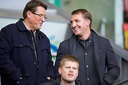 ANFIELD, ENGLAND - Friday, May 2, 2014: Liverpool's manager Brendan Rodgers and assistant manager Colin Pascoe watch their Under-21 team take on Manchester United before the Under 21 FA Premier League Semi-Final match at Anfield. (Pic by David Rawcliffe/Propaganda)