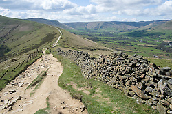 The Great Ridge walking from Losehill and Back Tor towards Mam Tor near Castleton in the Hope Valley <br />