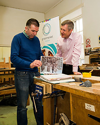 Pictured: Willie Rennie, was shown round the woodworking room by Senior manager Tommy Steel.<br /> <br /> Scottish Liberal Democrat leader Willie Rennie met staff and customers at the Grassmarket caf&eacute;, part of the Grassmarket Community Project, as he visited the Edinburgh social enterprise today as part of his election campaign. He took the opportunity to set out Lib Dem student support plans ahead of an NUS election hustings in Glasgow. <br /> Ger Harley | EEm 11 April 2016