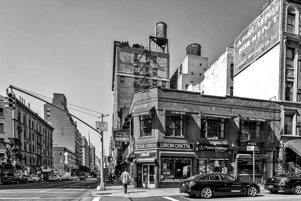 A New York city corner in black and white.