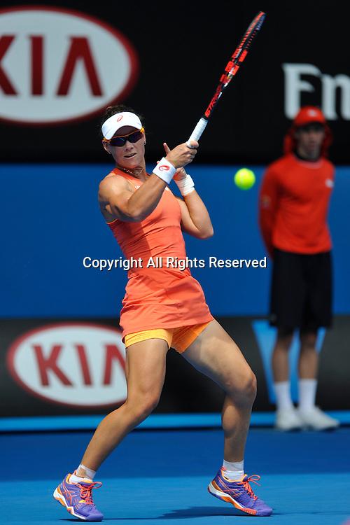 20.01.2015 Australian Open Tennis from Melbourne Park. Samantha Stosur of Australia returns a shot in her match against Monica Niculescu of Romania on day two of the 2015 Australian Open at Melbourne Park, Melbourne, Australia.