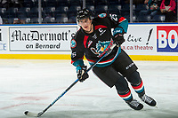 KELOWNA, CANADA - SEPTEMBER 22: Cal Foote #25 of the Kelowna Rockets warms up on the ice as the 23rd Captain of the franchise during home opener against the Kamloops Blazers on September 22, 2017 at Prospera Place in Kelowna, British Columbia, Canada.  (Photo by Marissa Baecker/Shoot the Breeze)  *** Local Caption ***