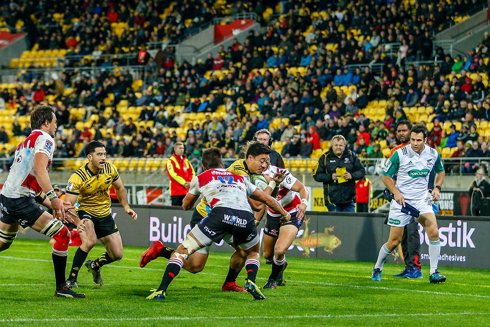Ben Lam tackled  during the Super rugby (Round 12) match played between Hurricanes  v Lions, at Westpac Stadium, Wellington, New Zealand, on 5 May 2018.  Hurricanes won 28-19.