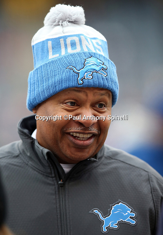 Detroit Lions head coach Jim Caldwell has a laugh as he talks on the sideline before the NFL week 17 regular season football game against the Chicago Bears on Sunday, Jan. 3, 2016 in Chicago. The Lions won the game 24-20. (©Paul Anthony Spinelli)