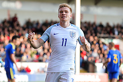 Duncan Watmore of England U21 celebrates scoring a goal to make it 4-0 - Rogan Thomson/JMP - 11/10/2016 - FOOTBALL - Bescot Stadium - Walsall, England - England U21 v Bosnia and Herzegovina - UEFA European Under 21 Championship Qualifying.