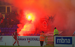CHESTER, ENGLAND - Friday, October 23, 2015: Benfica supporters let off flares and smoke bombs during the Premier League International Cup match against Liverpool at the Deva Stadium. (Pic by David Rawcliffe/Propaganda)
