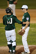 West Deptford catcher Tyler Strano talks to pitcher Keith Wallace during the opening round of the Mid-Atlantic Senior League regional tournament held in West Deptford on Friday, August 5.