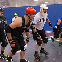 "Dick ""Merby Dick"" Roche joins his teammates on the Lane County Concussion for practice at the Willamalane Center for Sports and Recreation, in Springfield, Ore., on Tuesday, October 28, 2014. Roche is 74, could be the oldest man competing in derby."