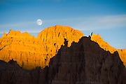 Moonrise over rock formations in Cathedral Gorge state park in South Eastern Nevada, USA.