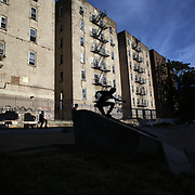 Youths play at a skate park near Yankee Stadium in the Bronx before the New York Yankees V Tampa Bay Rays American League baseball game  at Yankee Stadium, The Bronx, New York. 25th September 2013. Photo Tim Clayton
