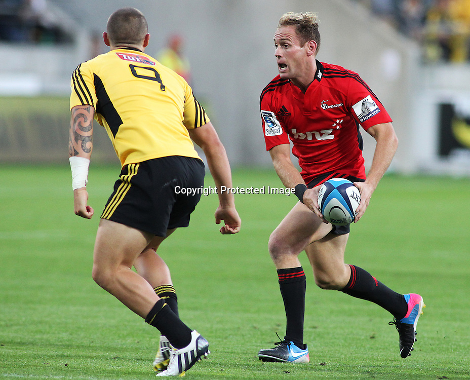 Crusaders' Andy Ellis looks to pass during Super Rugby match, Hurricanes V Crusaders at Westpac Stadium, Wellington, Friday 8 March 2013. Photo.: Grant Down / photosport.co.nz