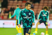Arsenal defender Sokratis Papastathopoulos (5) during the warm up ahead of the Premier League match between Sheffield United and Arsenal at Bramall Lane, Sheffield, England on 21 October 2019.