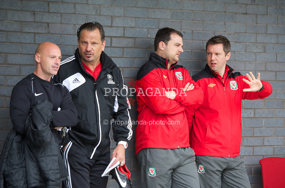NEWPORT, WALES - Wednesday, May 22, 2013: Dean Holdsworth, Stuart Webber and Jason Blake during the Football Association of Wales' UEFA Pro Licence Course 2013 at Dragon Park. (Pic by David Rawcliffe/Propaganda)