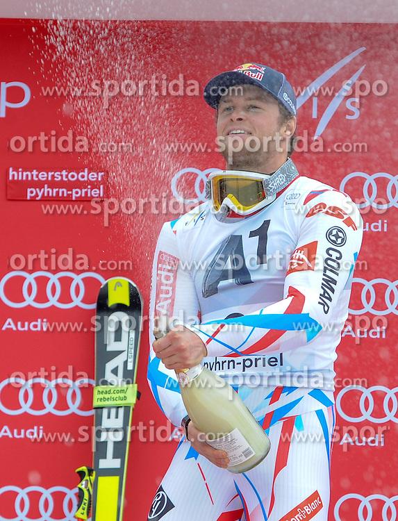 28.02.2016, Hannes Trinkl Rennstrecke, Hinterstoder, AUT, FIS Weltcup Ski Alpin, Hinterstoder, Riesenslalom, Herren, Podium, im Bild Alexis Pinturault (FRA) Sieger // Alexis Pinturault of France (winner) celebrates on Podium of men's Giant Slalom of Hinterstoder FIS Ski Alpine World Cup at the Hannes Trinkl Rennstrecke in Hinterstoder, Austria on 2016/02/28. EXPA Pictures © 2016, PhotoCredit: EXPA/ ERICH SPIESS