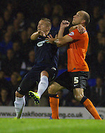 Picture by David Horn/Focus Images Ltd +44 7545 970036<br /> 13/09/2013<br /> Freddy Eastwood of Southend United and David Mirfin of Scunthorpe United during the Sky Bet League 2 match at Roots Hall, Southend.