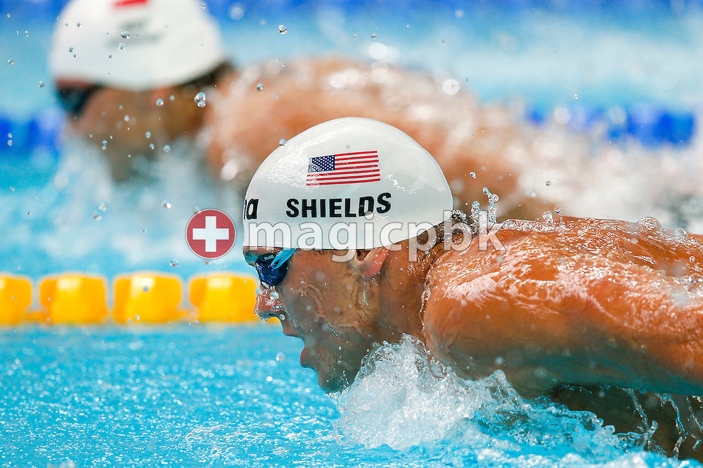 Tom SHIELDS of United States of America (USA) competes in the men's 200m Butterfly Heats during the 16th FINA World Swimming Championships held at the Kazan arena in Kazan, Russia, Tuesday, Aug. 4, 2015. (Photo by Patrick B. Kraemer / MAGICPBK)