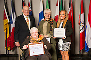 Granger native Faith Onstot (right), an animal science major, receives an Oklahoma State University Mable and Houston Ward, Sr. Memorial Endowed Scholarship from Houston Ward (left), Dixie Ward Greer, and Dr. Jewell Ward at the university's recent College of Agricultural Sciences and Natural Resources Scholarships and Awards Banquet. The scholarship is part of more than $1.4 million in scholarships and awards presented to CASNR students for the 2016-2017 academic year. (Photo by Todd Johnson)