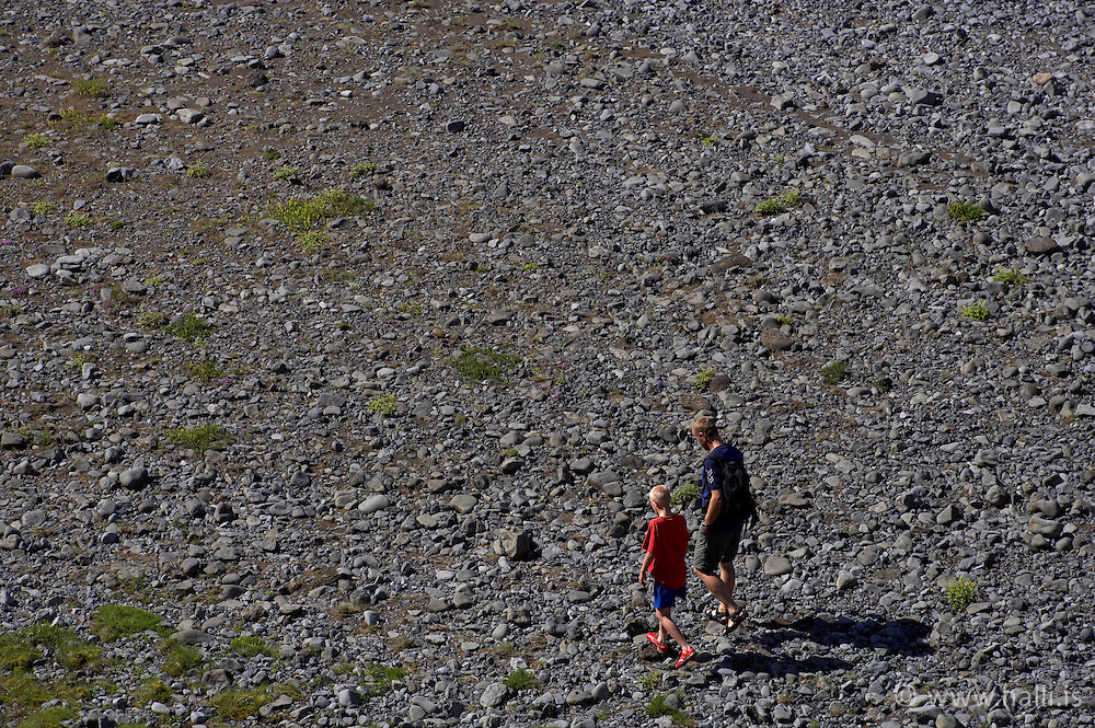 Father and son walking in the canyon, Fjadrargljufur near Kirkjubaejarklaustur on the south coast of Iceland - Fjaðrárgljúfur við Kirkjubæjarklaustur, Sigurður Egill Karlsson, Karl Sigurðsson