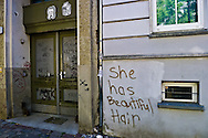 """She was beautiful hair"" scrawled on the wall of an altbau, Berlin, Germany."