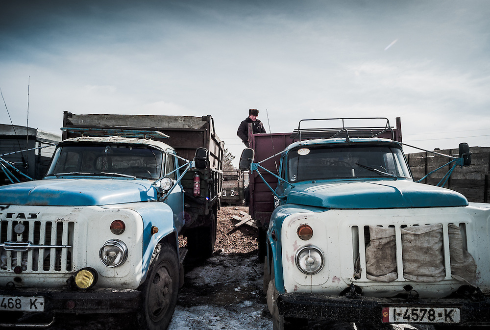 Trucks line up to transport animals from the weekly animal market in Karakol, Kyrgyzstan.