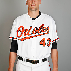 Feb 22, 2013; Sarasota, FL, USA; Baltimore Orioles relief pitcher Jim Johnson (43) at the Orioles clubhouse. Mandatory Credit: Derick E. Hingle-USA TODAY Sports