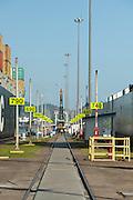 View of cargo ships from Miraflores Locks, Panama Canal, Panama City, Panama, Central America.