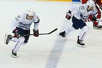 Antoine Roussel / Teddy Da Costa - 07.05.2015 - Republique Tcheque / France - Championnat du Monde de Hockey sur Glace <br />Photo : Xavier Laine / Icon Sport