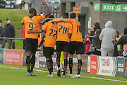 Barnet  celebrate their 3rd goal scored by Barnet defender,on loan from Brentford, Josh Clarke during the Sky Bet League 2 match between Barnet and York City at Underhill Stadium, London, England on 17 October 2015. Photo by Simon Davies.
