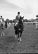 Guinness Competitions At The RDS Horse Show.(R39)..1986..09.08.1986..08.09.1986..9th August 1986..At the Dublin Horse Show at the RDS, Guinness sponsor several events,The Guinness Match International, The Novice Championship and the Guinness Tankard...Image of Stephen Smyth aboard 'Hilton Nelly' winner of the Guinness sponsored Novice championship at the Dublin Horse Show today.