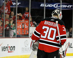 Mar 17, 2009; Newark, NJ, USA; New Jersey Devils goalie Martin Brodeur (30) during warmups before his game against the Blackhawks at the Prudential Center.