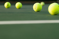 Tennis  Balls lying on Court ground view
