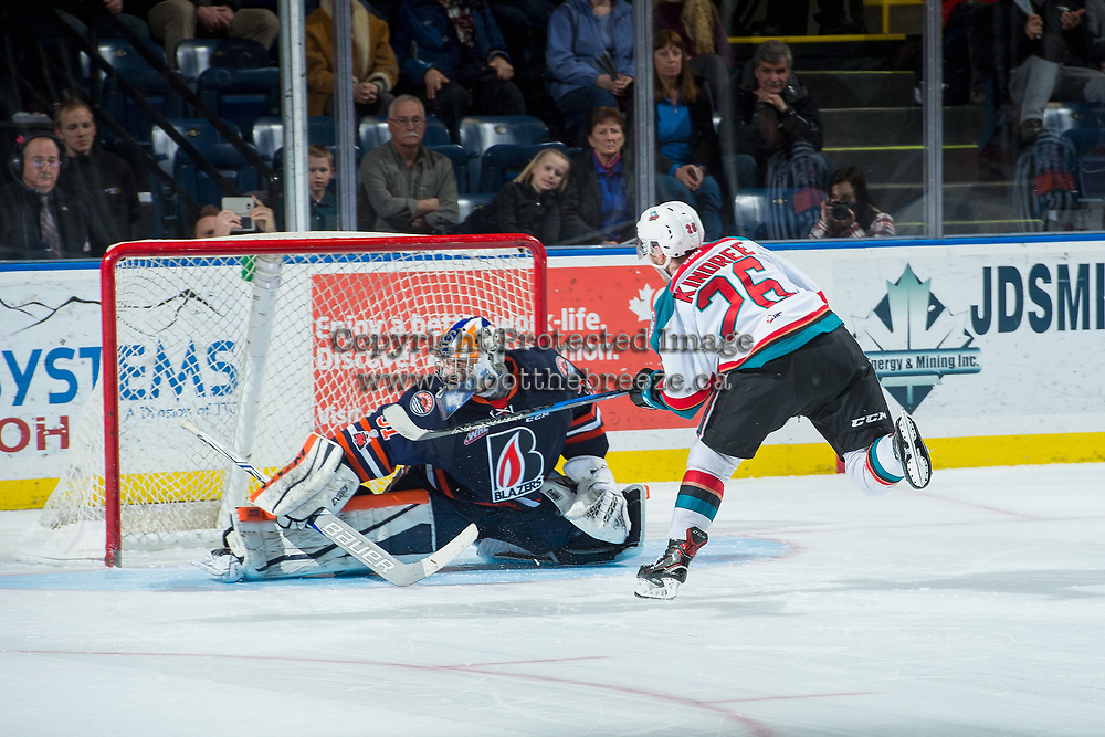 KELOWNA, CANADA - DECEMBER 27: Liam Kindree #26 of the Kelowna Rockets score the shoot out winning goal against Dylan Ferguson #31 of the Kamloops Blazers on December 27, 2017 at Prospera Place in Kelowna, British Columbia, Canada.  (Photo by Marissa Baecker/Shoot the Breeze)  *** Local Caption ***