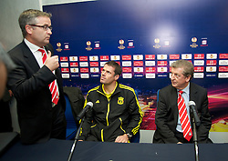 NAPELS, ITALY - Wednesday, October 20, 2010: Liverpool's press officer Paul Tyrell, Jamie Carragher and manager Roy Hodgson during a press conference ahead of the UEFA Europa League Group K match against SSC Napoli at the Stadio San Paolo. (Pic by: David Rawcliffe/Propaganda)