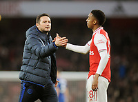 Football - 2019 / 2020 Premier League - Arsenal vs. Chelsea<br /> <br /> Chelsea manager, Frank Lampard consoles Joe Willock after the match, at The Emirates.<br /> <br /> COLORSPORT/ANDREW COWIE
