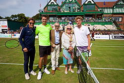 LIVERPOOL, ENGLAND - Saturday, June 23, 2018: Tournament director Anders Borg, Robert Kendrick (USA) and Adam Jones (GBR) with Gary Millar, deputy mayor of Liverpool and Councillor Christine Banks, Mayor of Liverpool during day three of the Williams BMW Liverpool International Tennis Tournament 2018 at Aigburth Cricket Club. (Pic by Paul Greenwood/Propaganda)