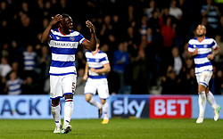 Nedum Onuoha of Queens Park Rangers celebrates Matt Smith of Queens Park Rangers scoring a goal - Mandatory by-line: Robbie Stephenson/JMP - 07/04/2017 - FOOTBALL - Loftus Road - Queens Park Rangers, England - Queens Park Rangers v Brighton and Hove Albion - Sky Bet Championship