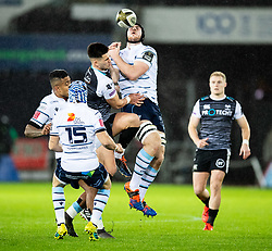 James Ratti of Cardiff Blues goes for the high ball<br /> <br /> Photographer Simon King/Replay Images<br /> <br /> Guinness PRO14 Round 8 - Ospreys v Cardiff Blues - Saturday 21st December 2019 - Liberty Stadium - Swansea<br /> <br /> World Copyright © Replay Images . All rights reserved. info@replayimages.co.uk - http://replayimages.co.uk