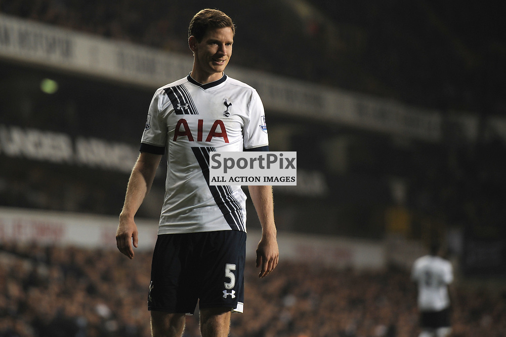 Tottenhams  Jan Vertonghen in action during the Tottenham v Aston Villa match in the Barclays Premier League on the 2nd November 2015