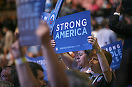 Strong America sign at the second night of the Democratic Convention in Denver, Colorado. Photograph by Dennis Brack