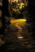 Stone walk way at night, vertical