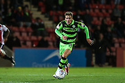 Forest Green Rovers Charlie Cooper(15) runs forward during the EFL Trophy match between Cheltenham Town and Forest Green Rovers at Whaddon Road, Cheltenham, England on 3 October 2017. Photo by Shane Healey.