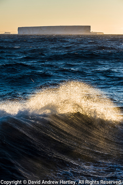 The crest of a wave sends sea spray into the air with tabular icebergs on the horizon, Scotia Sea.
