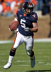 Virginia tight end Mikell Simpson (5) rushes up field.  The #23 Virginia Cavaliers defeated the #24 Wake Forest Demon Deacons 17-16 at Scott Stadium in Charlottesville, VA on November 3, 2007.