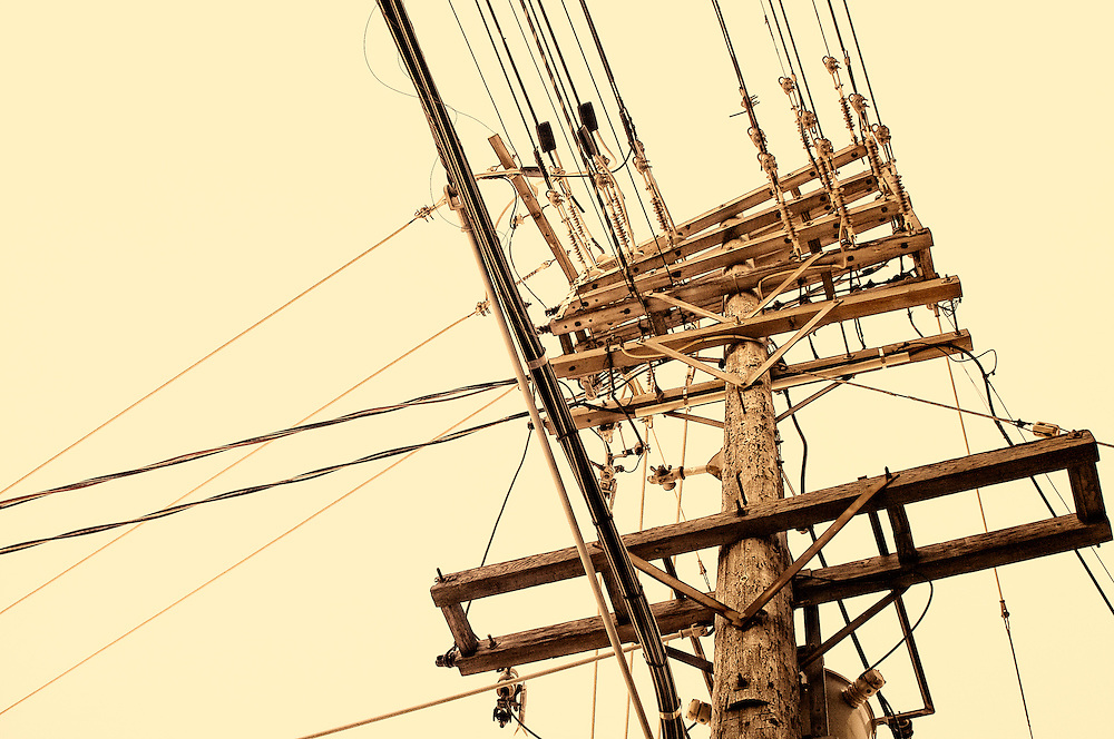 Urban hydroelectric pole and wires, Toronto Canada.